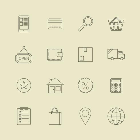 Navigatieknoppen voor online internetwinkel vector