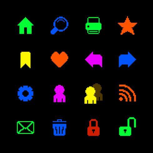 Färgade pixelikoner inställda för webbplats