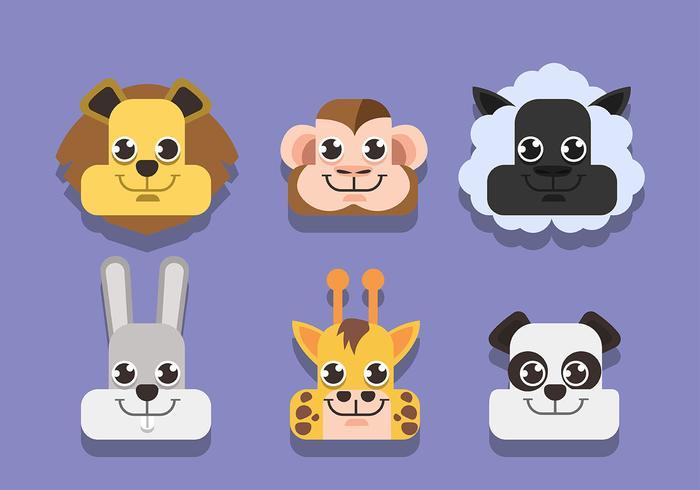 Facce di animali impostate su sfondo viola