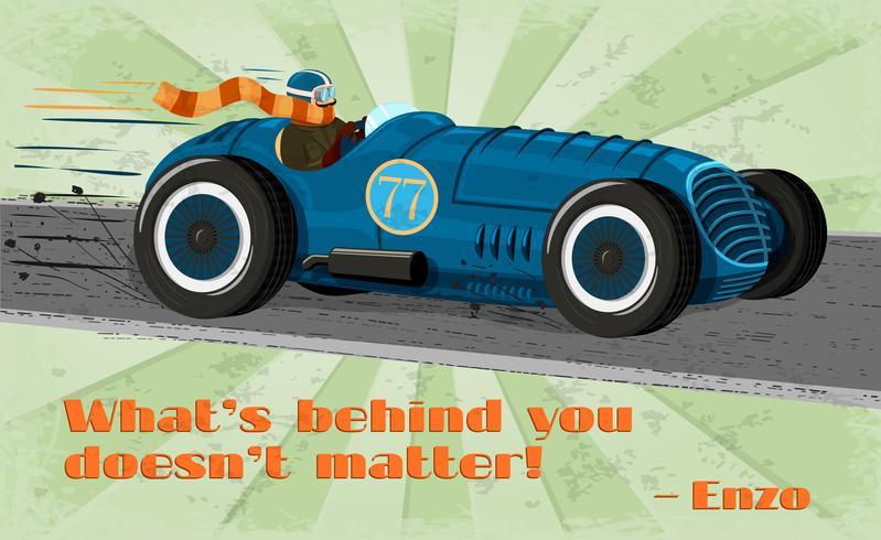 Cartel del coche de carreras del vintage vector