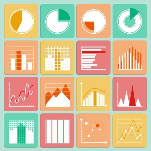 Conjunto de ícones de gráficos e gráficos de apresentação de negócios