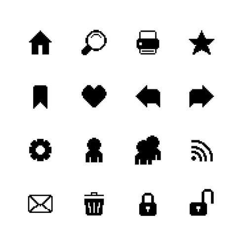 Icone nere del pixel impostate per la navigazione