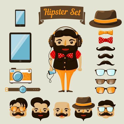 Hipster-Charakterelemente für Sonderlingsjungen vektor