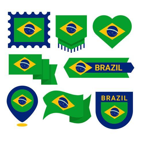 Braziliaanse vlag Clipart Vector