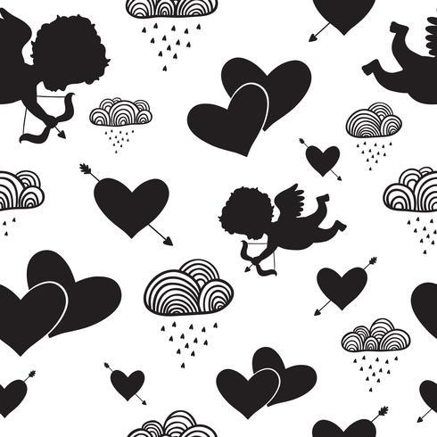 Kärlek cupids hjärtan pilar och moln sömlösa mönster