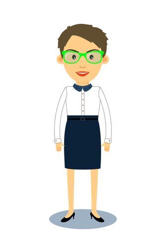Hipster geek affärskvinna karaktär