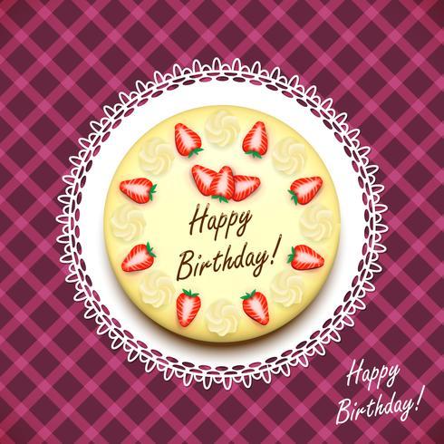 Cream födelsedagstårta dekorerade med jordgubbar