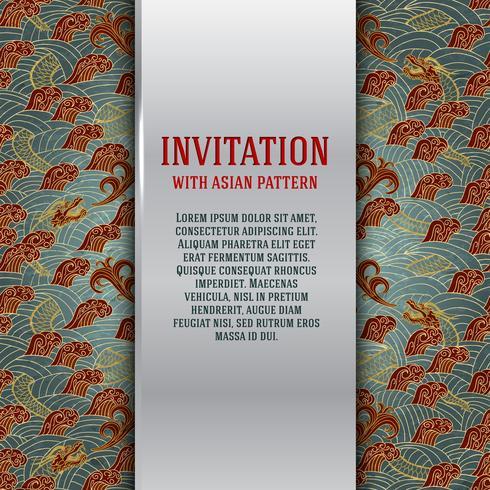 Asiatiskt inbjudningskort med drakar och vågor