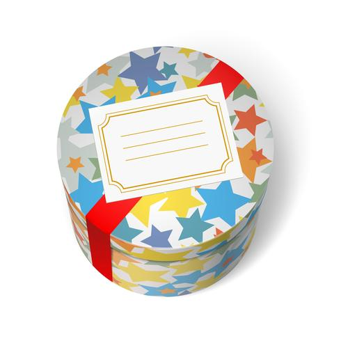 Party present box with stars and red ribbon