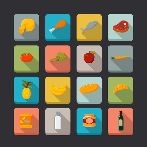 Supermarkt voedingsmiddelen pictogrammen instellen