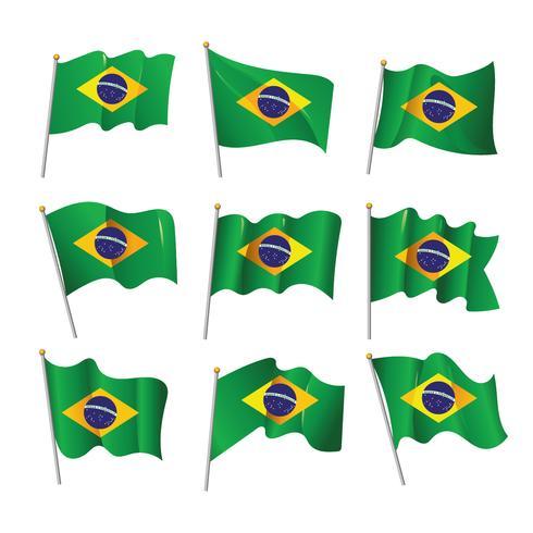 Vågig 3D Brasilien Flagga