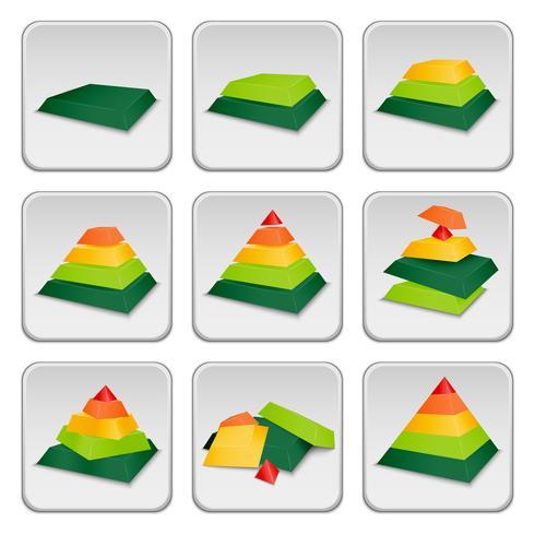 Icônes d'indicateur d'état de pyramide vecteur