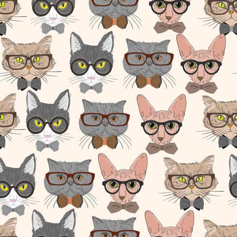Seamless hipster katter mönster bakgrund