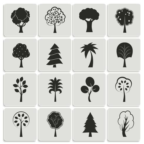 Elementos de diseño de árboles de bosque verde