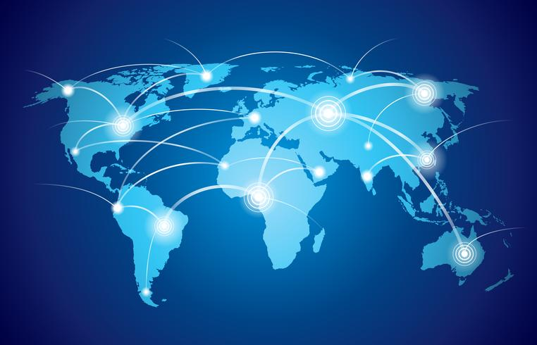 Världskarta med globalt nätverk