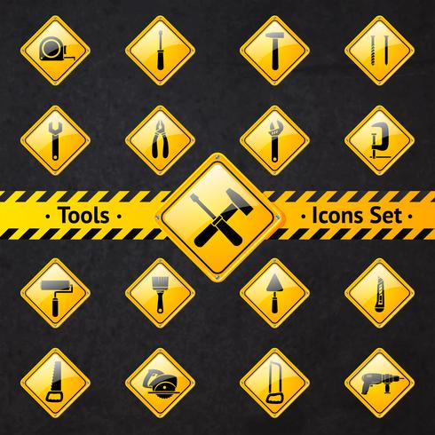 Caixa de ferramentas atenção sinais amarelos e pretos vetor