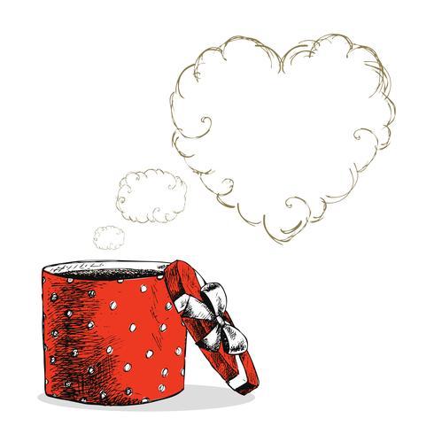 Abra a caixa de presente com pensamentos de amor vetor