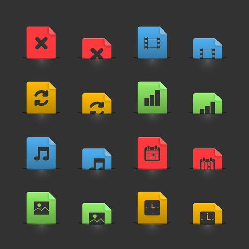 Online media icons set on moving stubs
