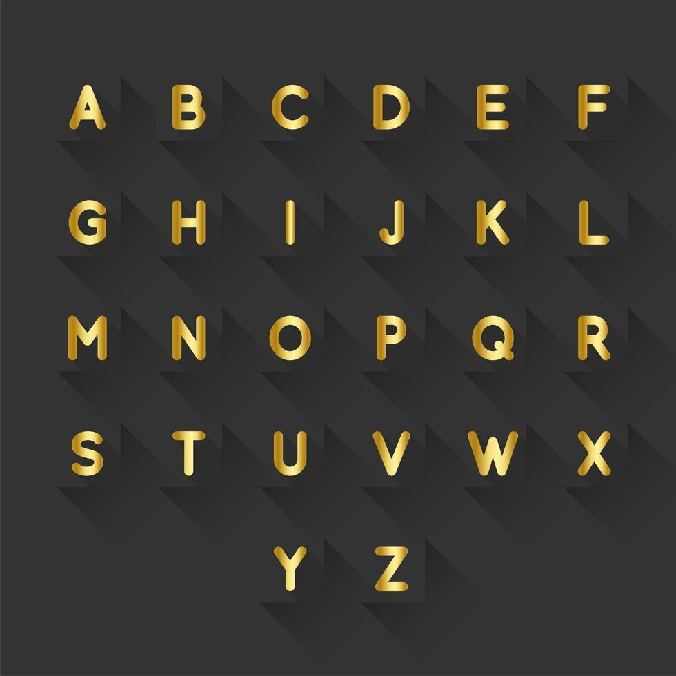 Guld Alfabet Brev