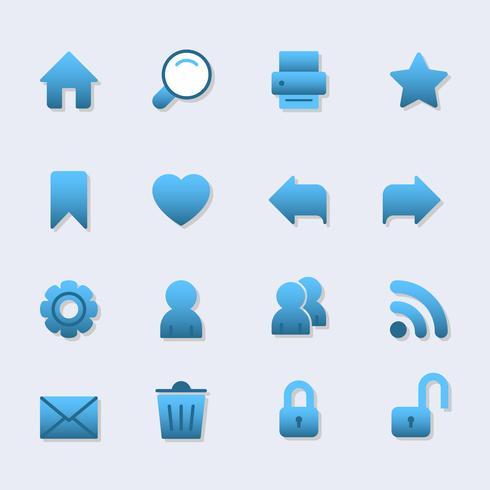 Icônes de base pour la conception web, dégradé avec ombre