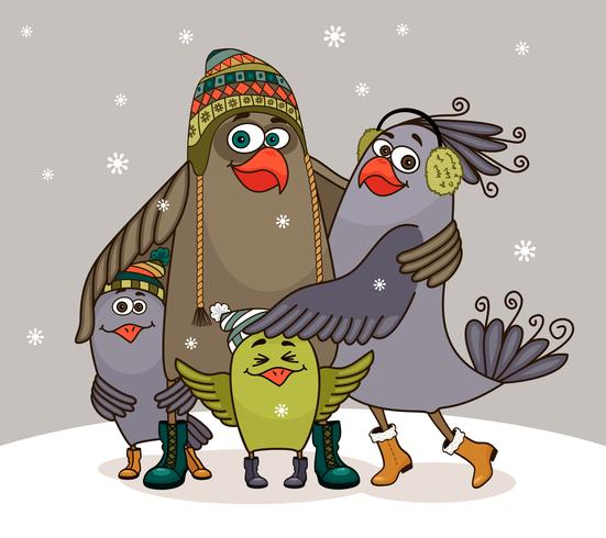 familia feliz de aves vector