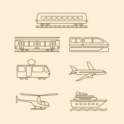 Icone di trasporto di tram, metropolitana, treno, aereo, elicottero, nave