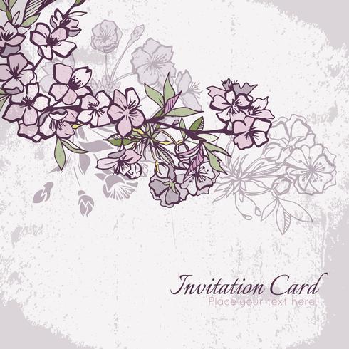 Blomning körsbär eller sakura bröllop inbjudningskort