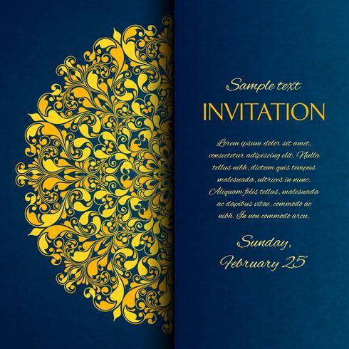 Tarjeta de invitación bordada azul con bordado dorado. vector