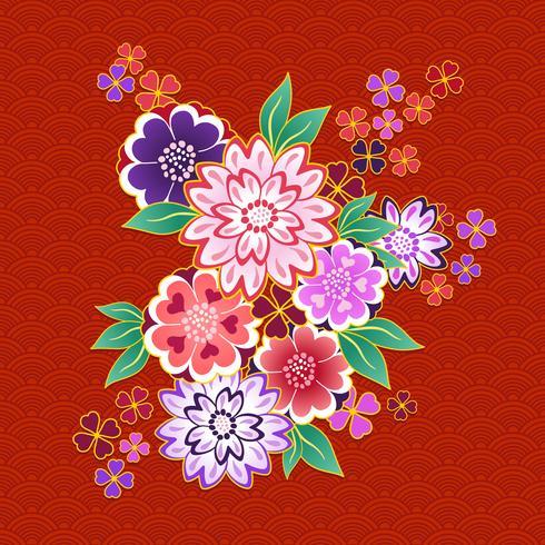 Blumenmotiv des dekorativen Kimonos auf rotem Hintergrund