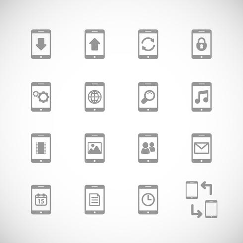 Online mobiele applicaties iconset, contour plat vector