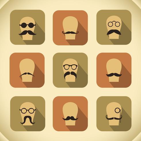 Conjunto de iconos de bigotes y gafas hipster