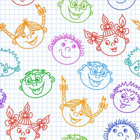 Doodle sem costura sorridente crianças enfrenta padrão