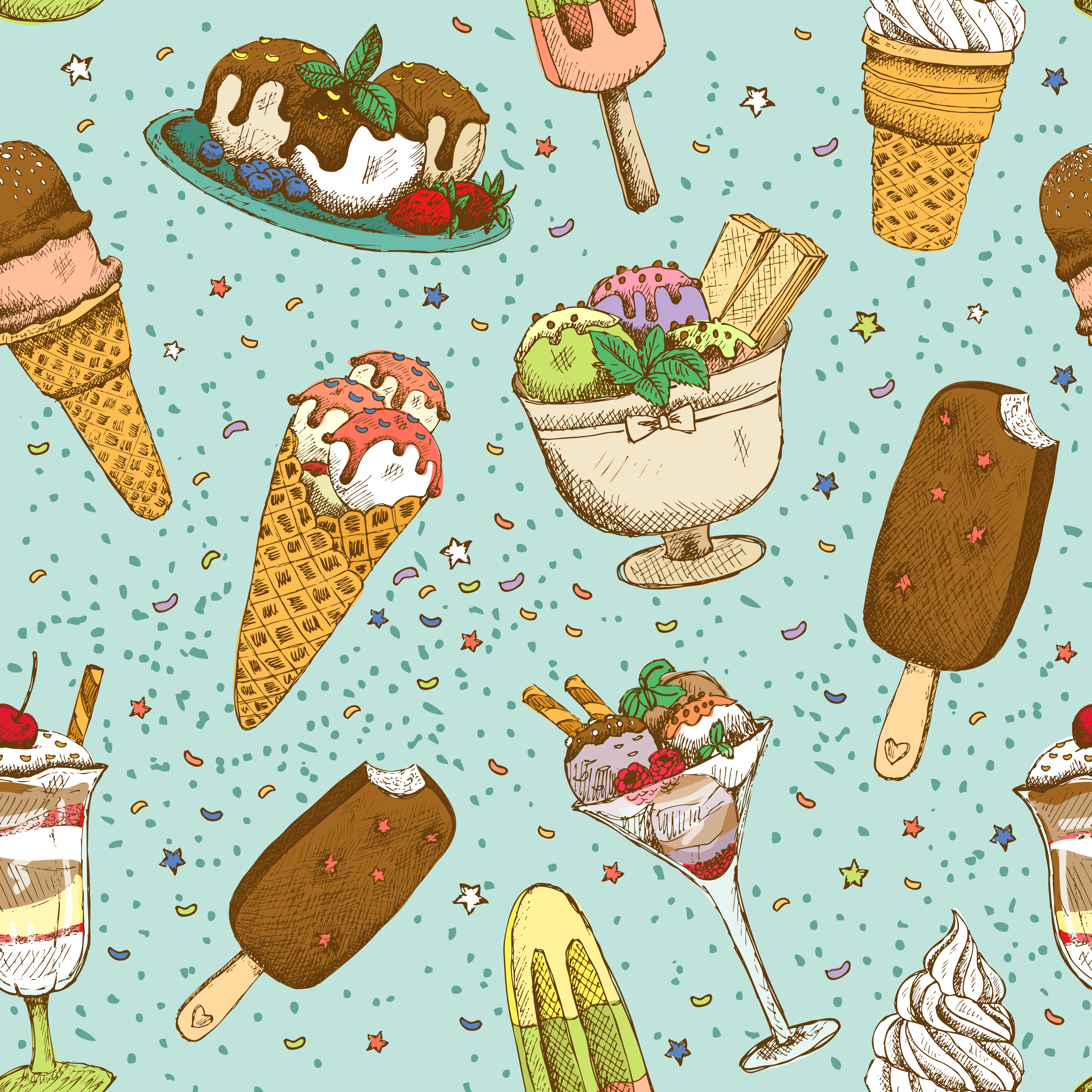 Seamless Wallpaper Pattern With Ice Cream Icons Stock: Icecream Seamless Background Pattern