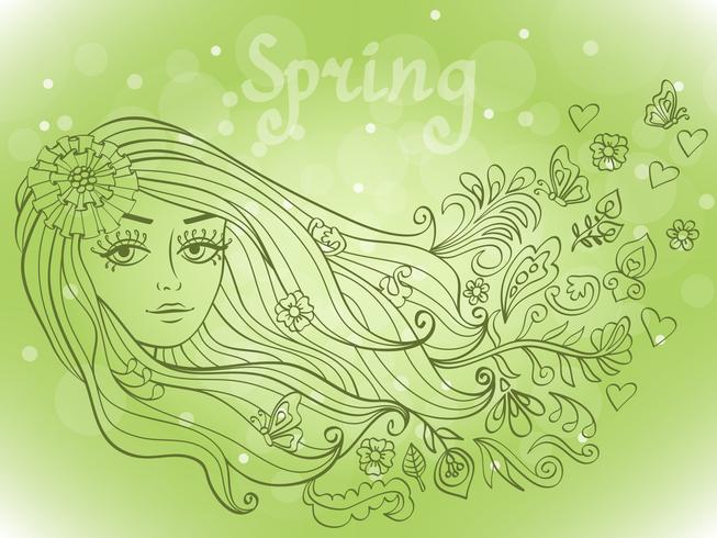 Ritratto di ragazza di primavera con fiori che sbocciano