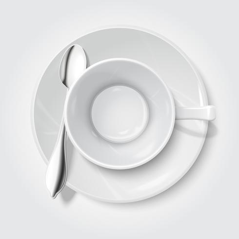 Realistische leere weiße Tasse