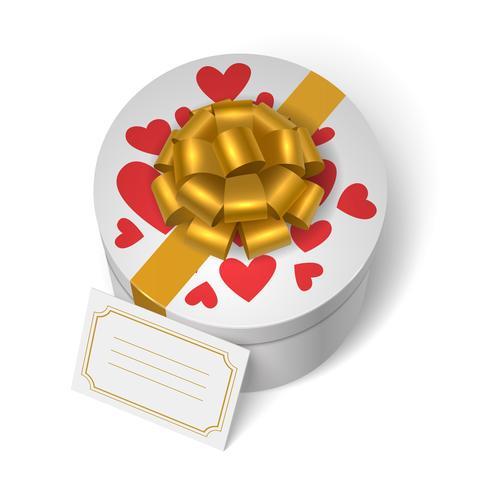 Valentins presentförpackning med röda hjärtan