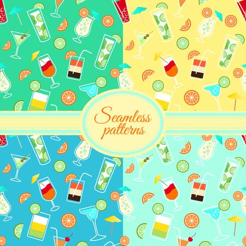 Collection of seamless patterns with cocktail drinks vector
