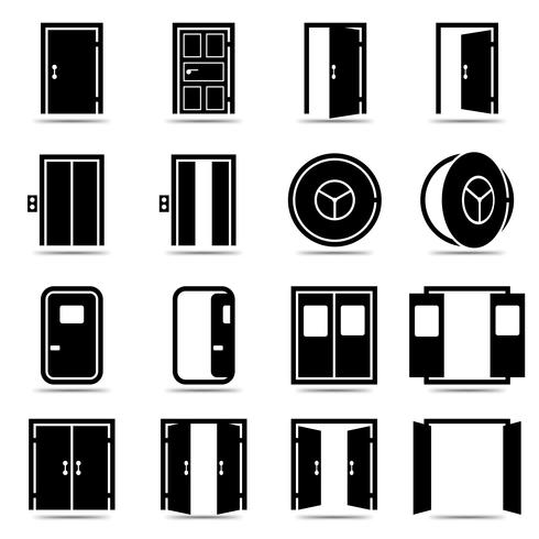 Conjunto de ícones de portas abertas e fechadas