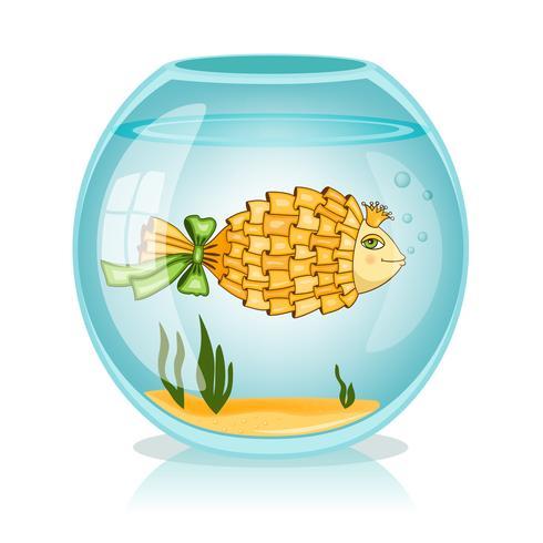 Goldfish en el tazón de fuente vector