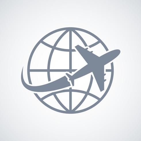 Icona di viaggio globo e aereo