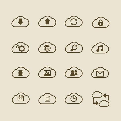 Icônes génériques de cloud computing, contour plat vecteur