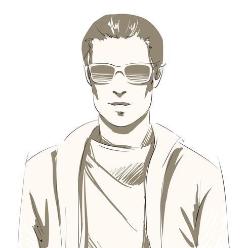 Portrait de beau jeune homme vecteur
