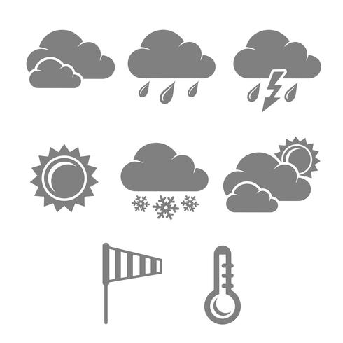 Weather symbols set, contrast flat