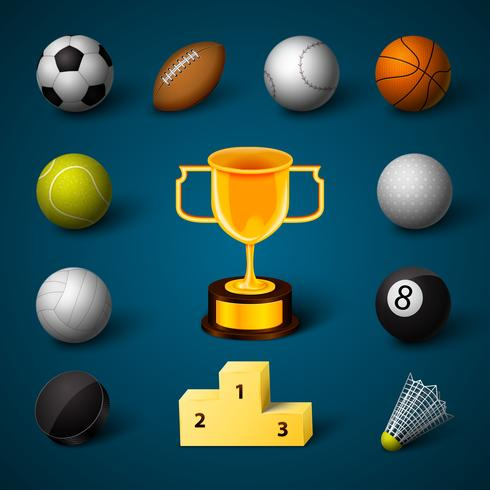 Sport realistische pictogrammen instellen
