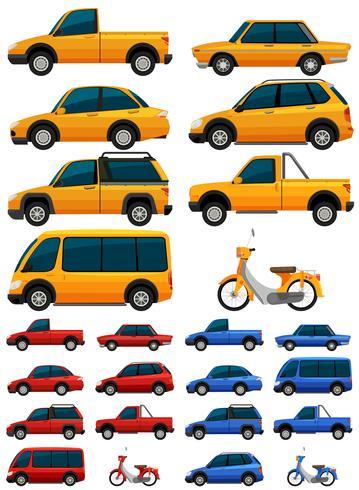 Différents types de transports en trois couleurs