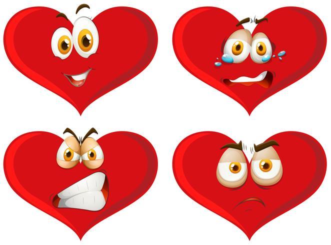 Corações vermelhos com expressões faciais