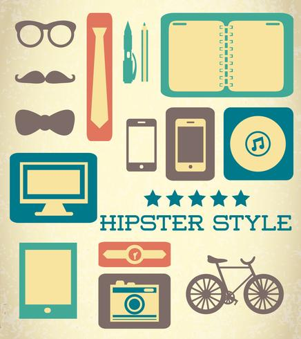 Flat hipster set of web elements