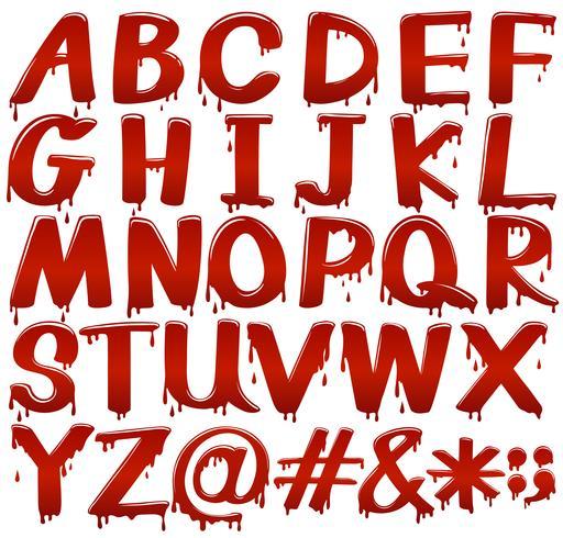 Buchstaben des Alphabets in blutigem Fontstyle