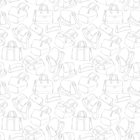 Seamless woman's stylish bags sketch vector