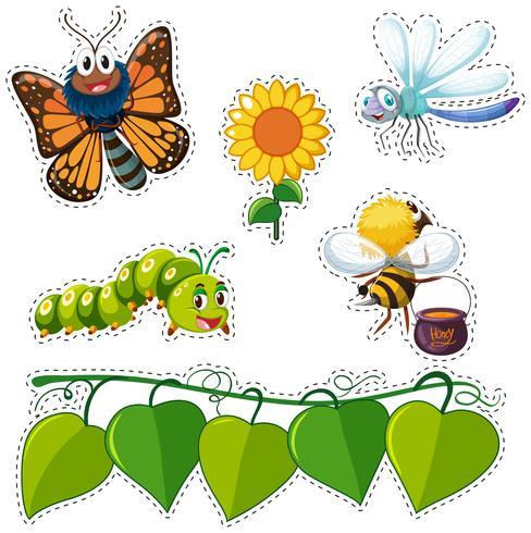 Design de adesivo com folhas e insetos